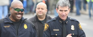 San Antonio Fire Chief Charles Hood and Police Chief William McManus at the 2011 MLK Day Parade. Photo by Justin Parr.