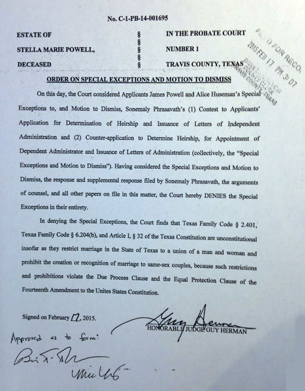Travis County judge rules Texas marriage ban unconstitutional - Out