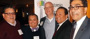 Robert L. Pitman (center) with members of the S.A. LGBT Bar Assn.