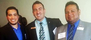 Pride Center board members Eli Garza, Marco Treinies and Robert Salcido at the Texas Diversity Council awards luncheon.
