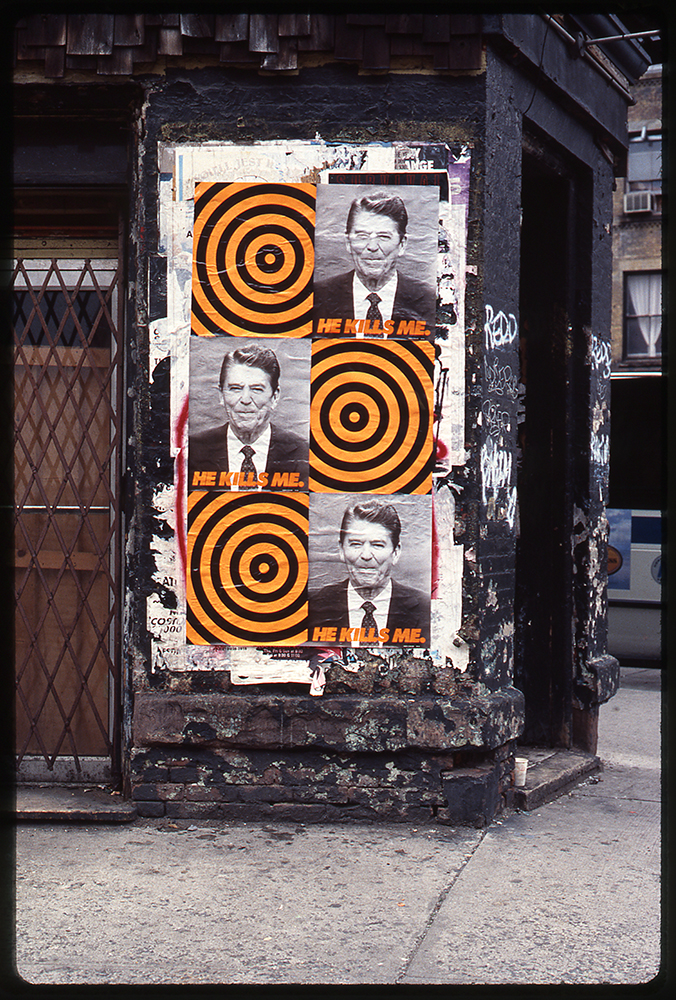 Moffett's He Kills Me installed on the side of a New York building in 1987