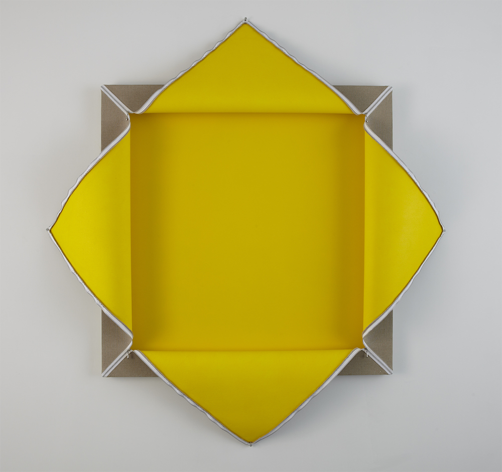 Lot 102807X (Yellow), 2007, acrylic polyvinyl acetate on linen and wall, with rayon and steel zipper