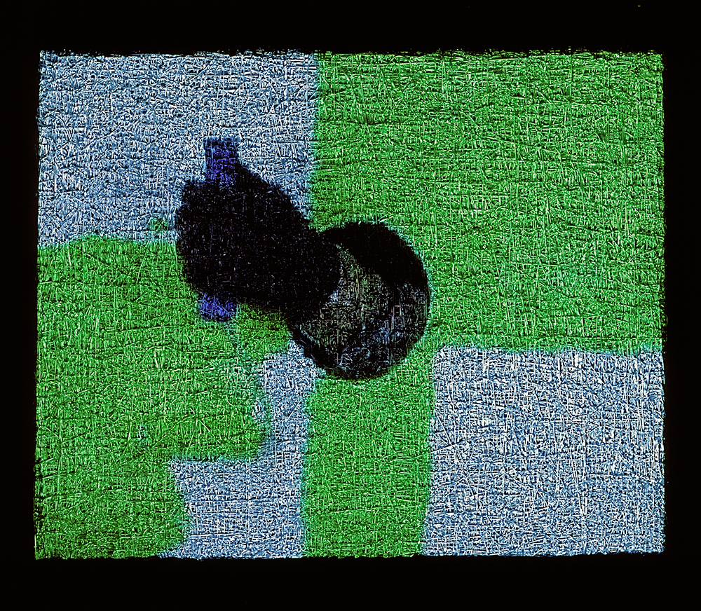 Untitled/Green Roller (Lot 080104), 2004, video projection, oil and alkyd on linen.
