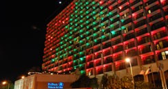 The Hilton Palacio del Rio decked out for the holidays.