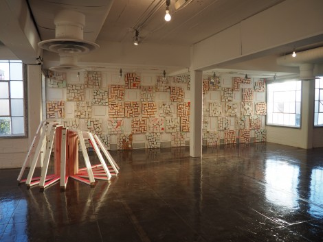 "An installation view of New York artist Cordy Ryman's Hudson (Show)Room exhibition ""Lorem Ipsum"""