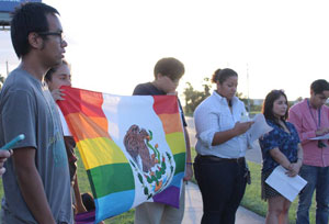 Aqui Estamos RGV protests in front of immigrant detention center in McAllen last summer.