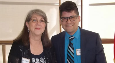 Stonewall Democrats of San Antonio Co-chairs Carolee Moore and Vincent Enriquez.