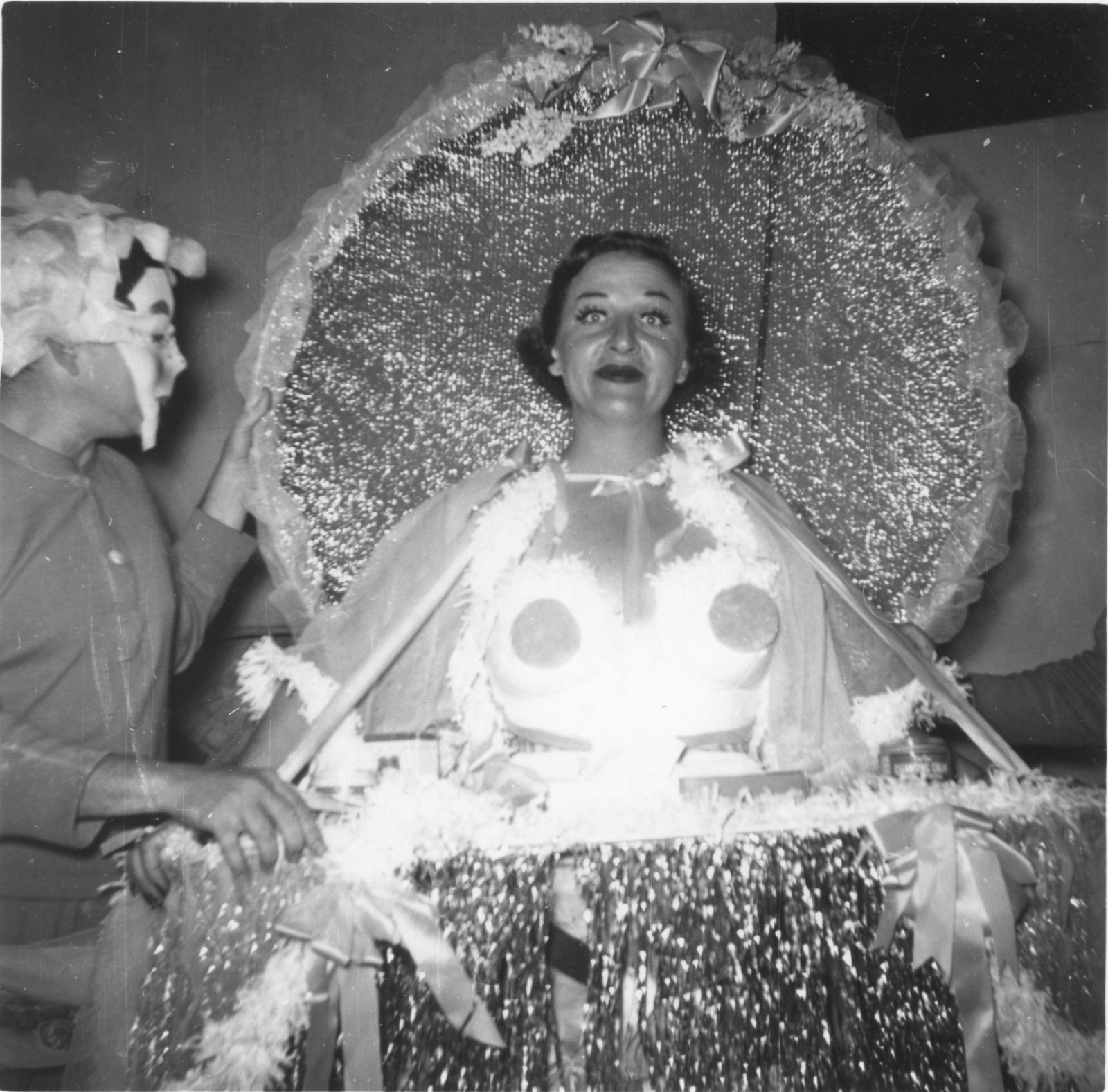 Anne Thompson as the Empress of the Court of Cosmetic Subterfuge,1953. Even in the early years, the costuming was daring. Courtesy of The Playhouse and San Antonio Public Library Texana Collection.