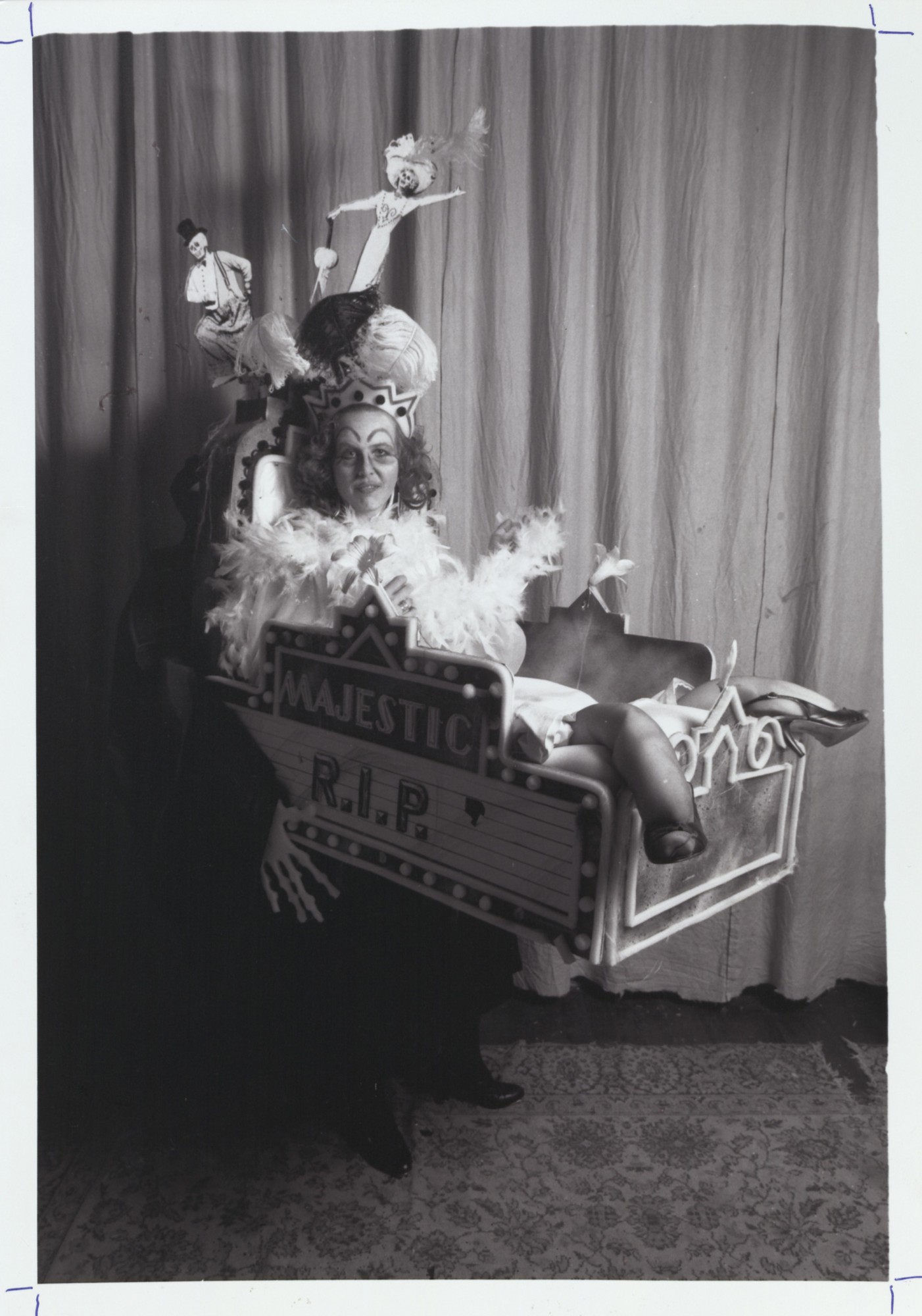 "Gretchen Schoopman as the Empress of the ""Song of No Way,"" parodying the closure of The Majestic Theatre. This costume was designed by Robert Rehm. 1987. Photography by Reuben Njaa."