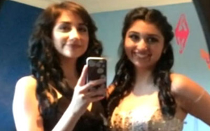 Jewel Uzquiano (left) and her friend were turned away from the Incarnate Word High School prom on April 16. (Video capture via WOAI-TV)