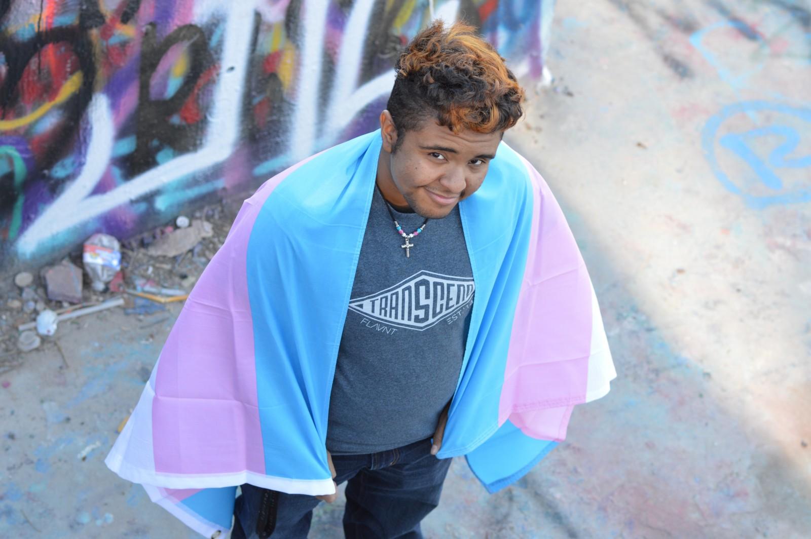 "Fundraising partner Aiden in FLAVNT Streetwear's ""Transcend"" T-shirt"
