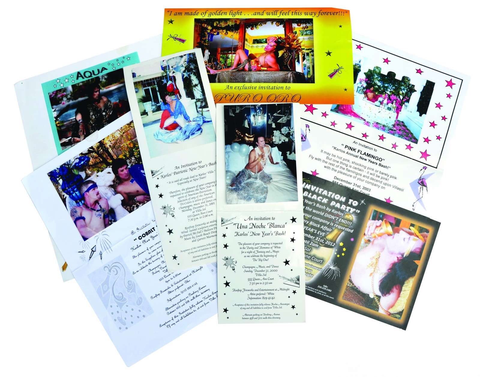 An array of invites to Karlos' legendary parties at Villa Sol