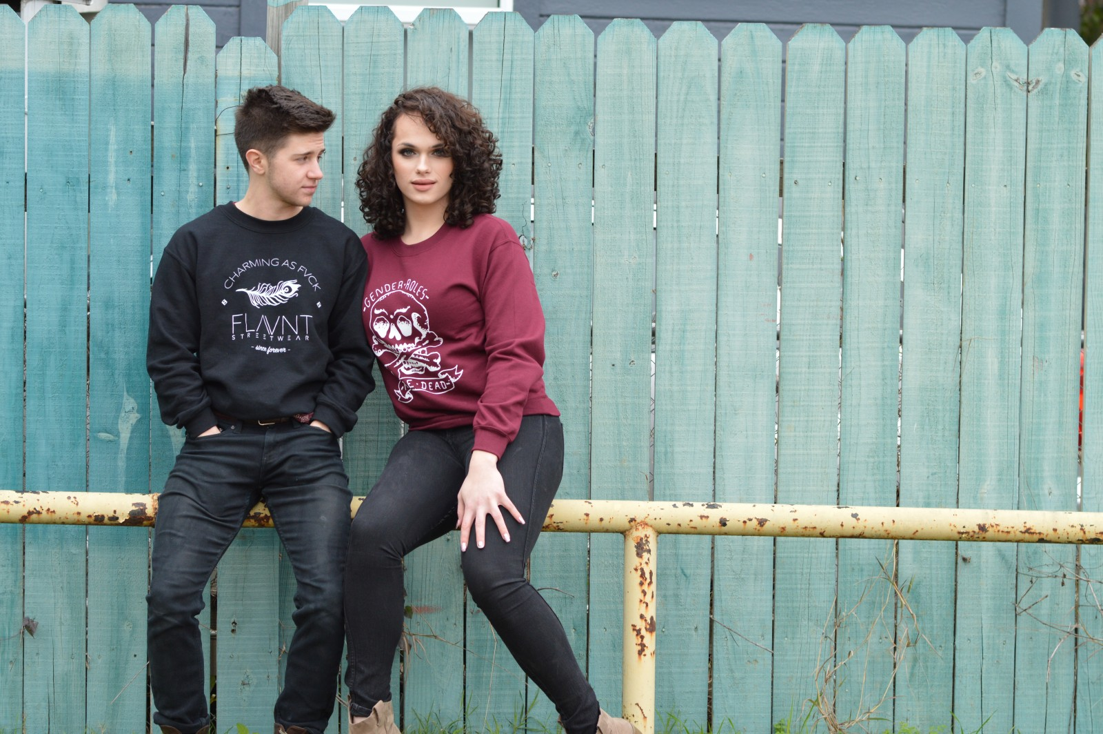 Trans models Ryan and Chloe in FLAVNT Streetwear
