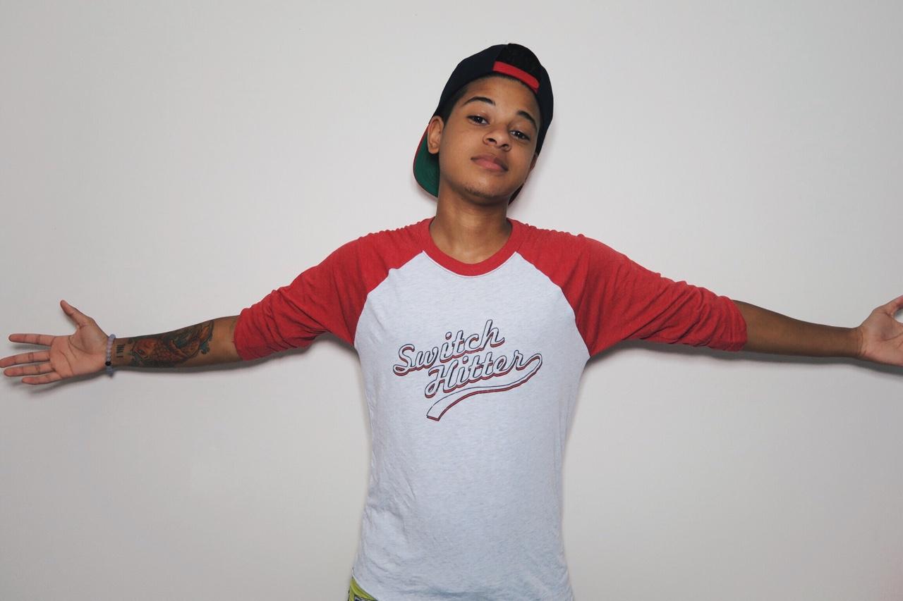 "Fundraising partner Tyler in FLAVNT Streetwear's ""Switch Hitter"" baseball tee"
