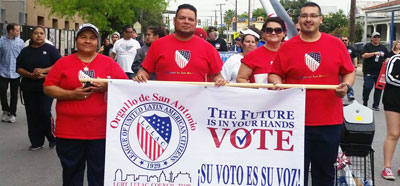 Members of Orgullo de San Antonio at the Cesar E. Chavez March for Justice earlier this year. (Courtesy photo)