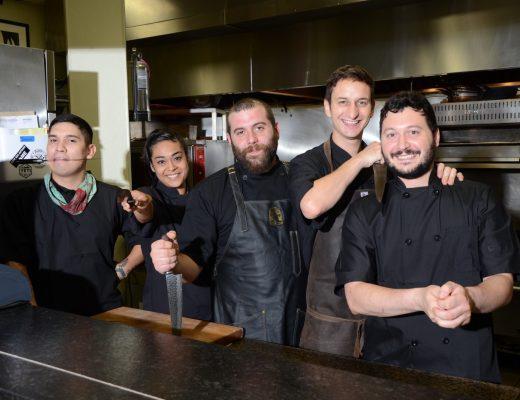 Evan Martinez, Andrea Morgan, Justin Richardson, Halston Connella and Noel Hallagan in the kitchen at Brigid.       Photos by Bryan Rindfuss