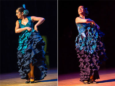 Lisa Perello's Blue Lagoon dress from her 2012 fashion show modeled by dancer Monica Moncivais. (Photos by Matt Bynum)