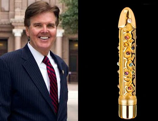 The Stonewall Democrats of San Antonio will give Texas Lt. Governor Dan Patrick the Genitalia Fixation Award at their annual banquet on September 24. (Photos Facebook and FunnyJunk.com)