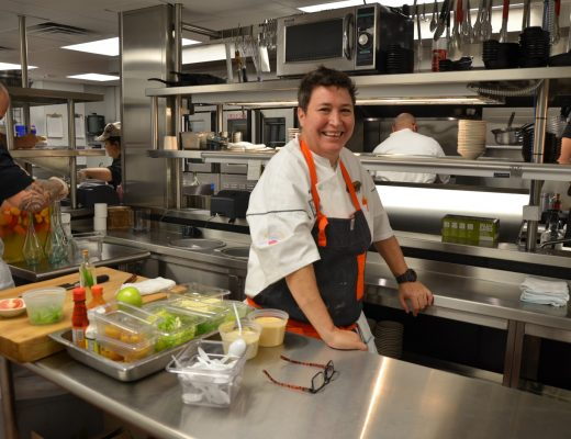 Chef Heather Nañez in the kitchen at Peggy's on the Green