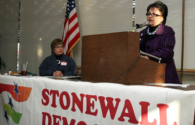 Choco Gonzalez Meza speaks at Stonewall Democrats' endorsement forum in 2010. (Photo by Sam Sanchez)