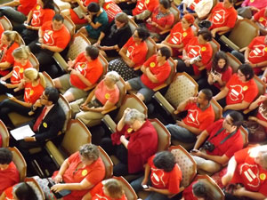 CAUSA members in City Council chambers on day of NDO vote. (Photo by Antonia Padilla)