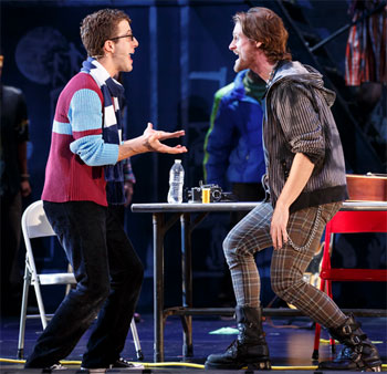 Danny Harris Kornfeld and Kaleb Wells perform in Rent 20th Anniversary Tour