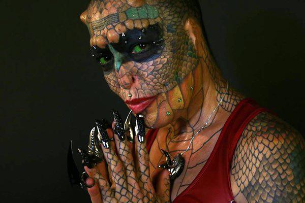 Texas Bred Dragon Lady Tiamat Medusa Takes Body Modification To The